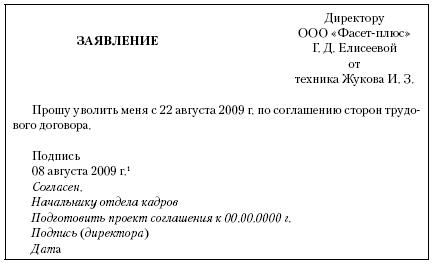 Беларусь Заявление На Увольнение По Соглашению Сторон Образец - фото 6