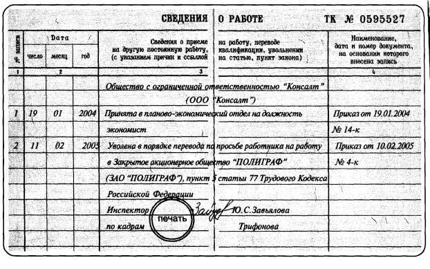 образец приказа на увольнение переводом